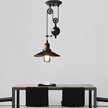 Metal Creative Pulley Design Black Iron Painted Industrial Vintage Style  1 Light Pendant Island Light
