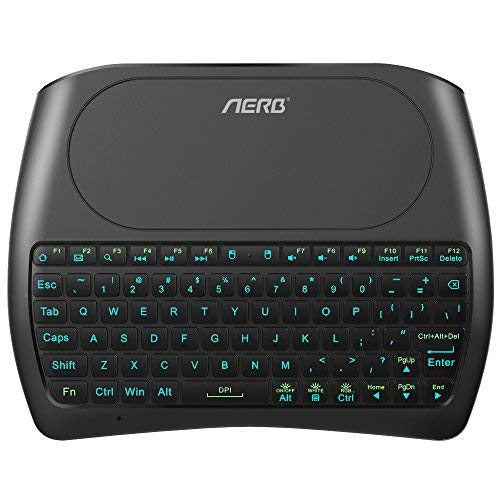(2019 D8 PRO) Aerb Backlit Mini Wireless Keyboard with Large Touchpad Mouse, Rechargable Li-ion Battery & Multi-Media Handheld Remote for PC/Google Android TV Box and More (Multicolor) - Wireless Pro Multimedia Receiver