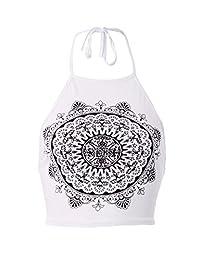 Forever Womens Celebrity Inspired Mandala Print Halterneck Crop Top