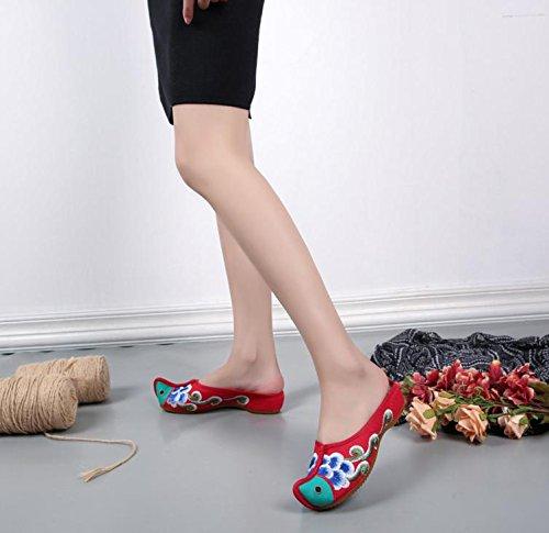 ZLL Gestickte Schuhe, Sehnensohle, ethnischer Stil, weiblicher Flip Flop, Mode, bequeme, lässige Sandalen , green , 41