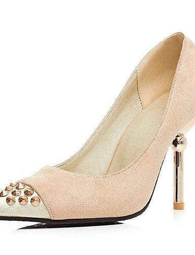 GGX/Damen Heels Sommer/Herbst Heels/spitz Fuß Fleece Office & Karriere/Casual Stiletto Heel Stift schwarz/beige black-us8 / eu39 / uk6 / cn39