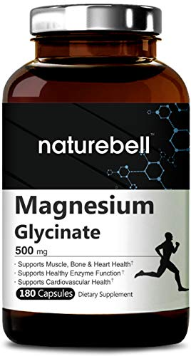 Maximum Strength Magnesium Glycinate 500mg, 180 Capsules, Supports Muscle, Bone, Joint, Heart Health & Enzyme Function, Non-GMO, Gluten Free and Made in USA