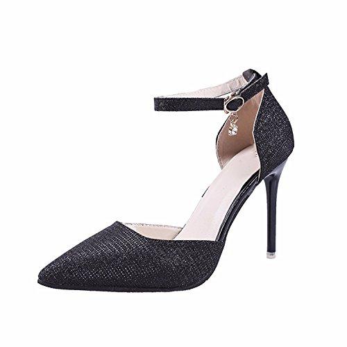 Rough Wide Shoes Heel Retro Fashion Fairy GTVERNH Shoes Skirt Summer Joker Leg Women's Black Female with Pants nzYZFq6pw
