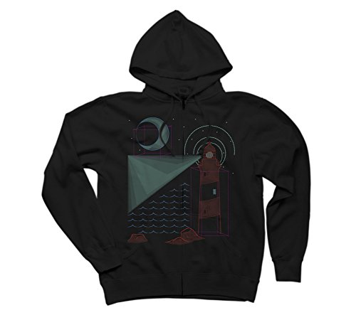 Night Sky Geometry Men's Small Black Graphic Zip Hoodie - Design By Humans (Star Zip Rock Sweatshirt)