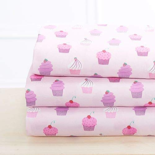 Luxury Linen Collection 3 Piece Printed Sheet with Pillowcase Cupcake Kids/Girls/Teens (Twin)