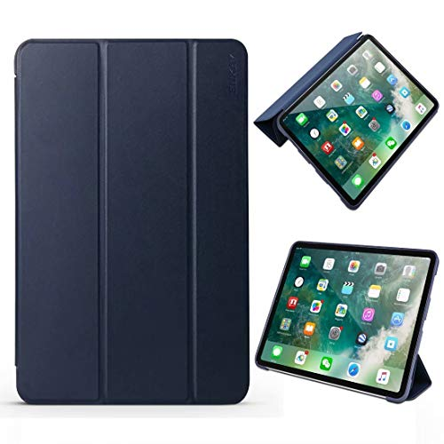Douhuayu Lambskin Texture + TPU Bottom Case Horizontal Flip Leather Case for iPad Pro 11 inch (2018),with Three-Folding Holder & Sleep/Wake-up Function (Color : Blue)