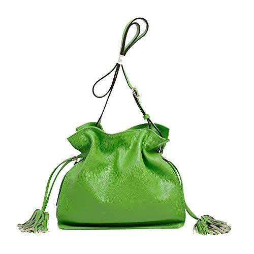 Sacs à main, sac à bandoulière pour femme, seau avec glands décontractés, épaule en forme de croix, grande main en cuir vert véritable