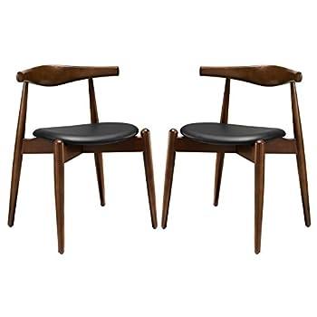LexMod Stalwart Dining Side Chairs, Dark Walnut/Black, Set of 2