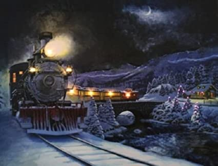 Christmas Train Photo on Canvas with Led Lights Wall Art Christmas Decor - Amazon.com: Christmas Train Photo On Canvas With Led Lights Wall Art