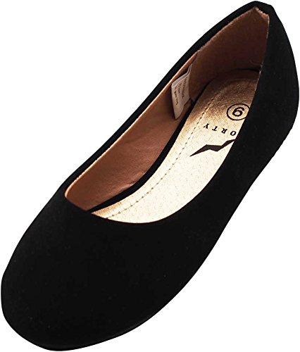 NORTY - Little Girls Nubuck Ballet Flat, Brushed Black -