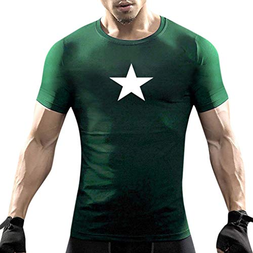 Zoo York Flash - iHPH7 T-Shirts Men Short Sleeve Heavyweight Crew Neck Tee Casual Star Print Short Sleeve O-Neck Tops Blouse T-Shirts M Green