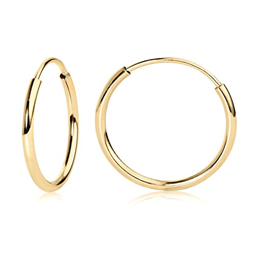 14k YG Endless Hoop Earrings 12mm - Earrings Hoop Gold Small