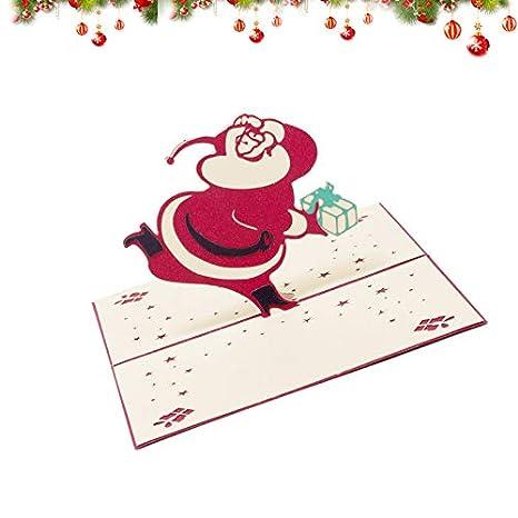 Red compleanno Shuda 3D Christmas biglietto d auguri pop up biglietti ripiegati vacanze per Natale Capodanno San Valentino 10cm*15 cm