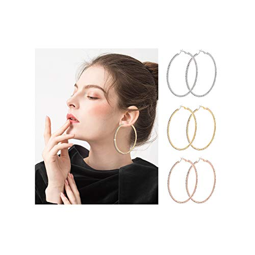 BSJELL Big Hoop Earrings Set of 3 Large Rhinestone Hoop Earrings Gold/Rose Gold/Silver Plated Fashion Bridal Wedding Jewelry for Women Girls (3 Pairs)
