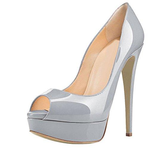 Guoar Womens Multicolor Stiletto Big Size Hoge Hakken Peep Toe Platform Patent Pompen Voor Bruiloft Feestjurk Grijs Patent