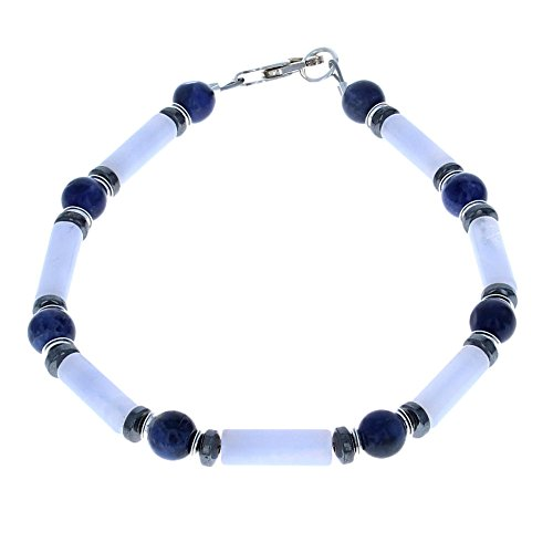 ue Lace Agate, Sodalite, Hematite (Hemalyke) & Sterling Silver Beaded Bracelet - 9