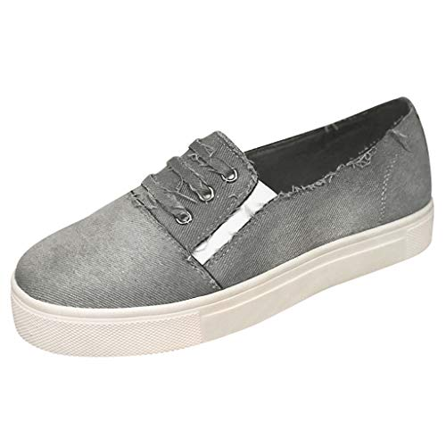Cenglings Women's Casual Round Toe Denim Flat Canvas Shoes Hollow Out Platform Sneakers Flat Loafers Office ()