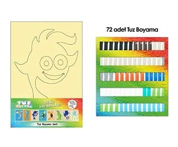 Tuz Boyama Deniz Hayvanları Seti 8 Adet Kart 72 Adet Renkli Tuz