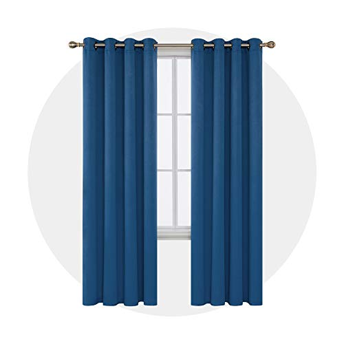 95' Curtain Drapery - Deconovo Blackout Drapes Grommet Curtains Thermal Insulated Window Blackout Curtains for Baby Room 52W x 95L Inch Dark Blue Set of 2