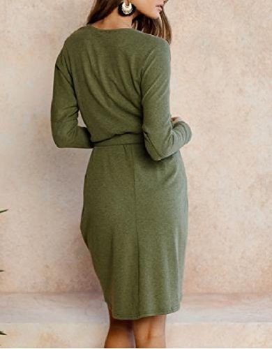 Solid Irregular Bandage Sleeve Dress Coolred Women's Long Autumn Mini Green Z6WqF
