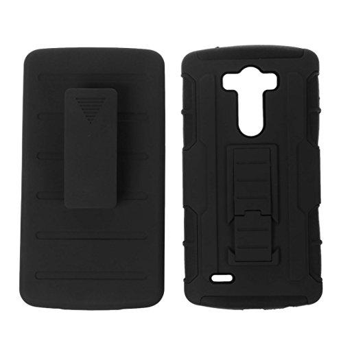 Caja del telefono celular - SODIAL(R)Caja hibrida protectora de alto impacto + pinza de correa soporte caja de bolso de telefono negro para el LG G3