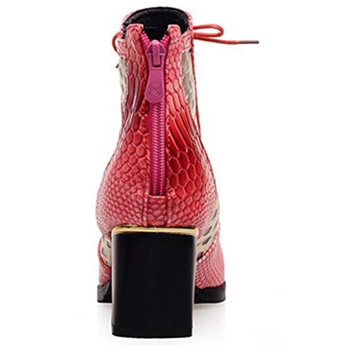 Moyen Lacets Eclair Bloc Bottes Elégant Classiques Confort Bottine Cuir Bout Serpent Rouge Talon Fermeture Pointu Femme Wealsex I67FF