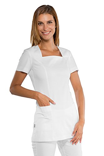 et col confort Coupe Isacco stretch carr cintre blanche Blanc esthticienne Tunique qgzH4X
