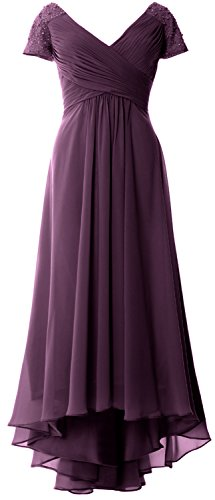 Evening Bride Low Mother MACloth V Sleeves Dress High Gown Cap Neck of Formal Plum qxv6S