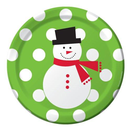 50 Count Snowman Dots Paper Dessert Plates ()