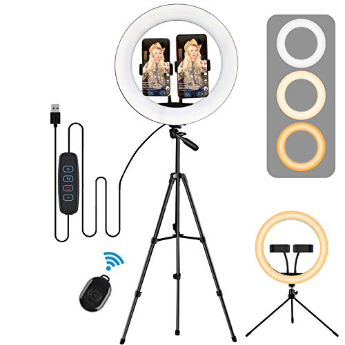 Ring Light with Stand, LED Selfie Ring Light YouTube Video Makeup Phone, 2020 Newest for YouTube Video/Photography (Black-12 Inch)