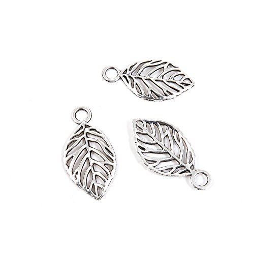 40 Pieces Antique Silver Tone Jewelry Making Charms F1NG5 Leaf (Tone Metal Leaf)