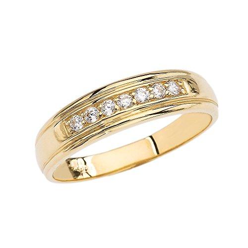 10k Yellow Gold Diamond Men's Wedding Band (Size 10)