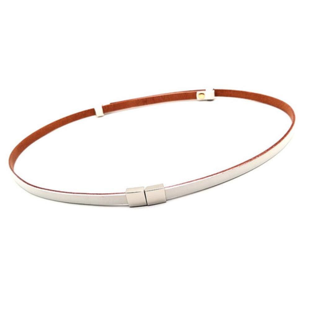 B DENGDAI Fashion Belt with Skirt Decorative Waist Chain Head Layer Leather Small Belt