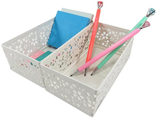 Executive Mechanical Pencil (Metal Drawer Organizer Pencil Utility Holder Basket Rectangular Carved Flower Pattern 6.25 x 3.25 Inches White with Mechanical Pencils Diamond (Bundle of 2))
