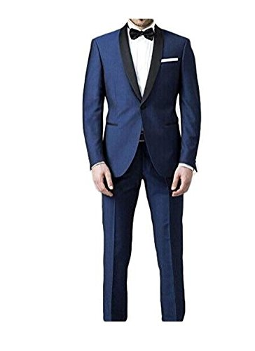 Botong 2 Pieces Black Shawl Navy Men Suits Wedding Suits for Men Groom Tuxedos Navy 40 chest / 34 waist for $<!--$83.99-->