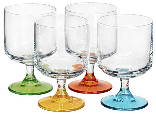 Red Co. Cocktail Glasses or Wine Goblets with Colorful Stems – Set of 4