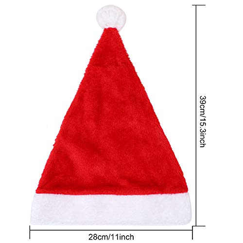 Aneco 8 Pack Christmas Hats Red Plush with White Cuffs Plush Fabric Santa Hat for Christmas Costume  - http://coolthings.us