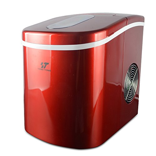 YONGTONG Ice Maker, Countertop Automatic Portable Icemaker Machine, Producing 26Lbs(12Kg) per Day, with 2 Selectable Cube Sizes, with Easy-Touch Buttons, Stainless Steel, 2.2L(2.3QT) Capacity (Red)