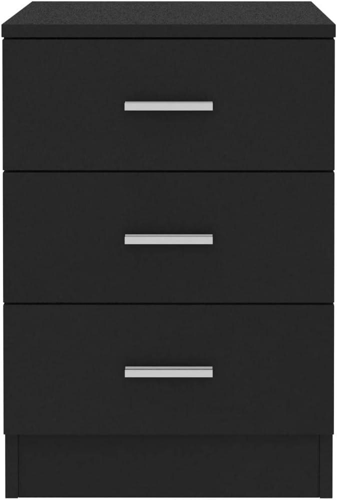 Tidyard Comodini Camera da Letto Moderni con 3 Cassetti in Truciolato Nero//Grigio Lucido,Comodino Moderno,Cassettiera Camera da Letto Moderna,Comodino con Cassetti 38x35x56 cm