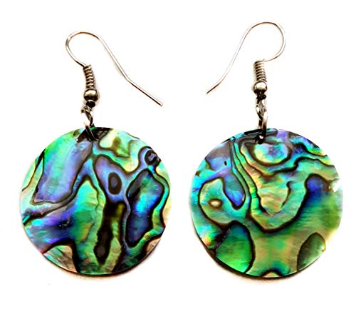 - Abalone Earrings Handmade 1.8 inch Round Dangle Drop Natural Shell Women Jewelry CA321