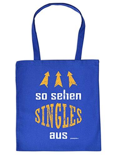 Coole Single Sprüche Einkaufstasche : So sehen Singles aus .. -- Goodman Design ® Baumwolltasche Farbe: royal-blau