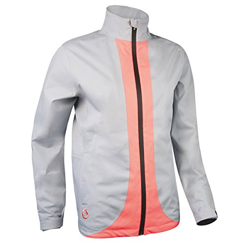 Sunderland Ladies' Contrast Color Lightweight Waterproof Golf Jacket (L - 38-40 inch Chest, Silver/Coral)