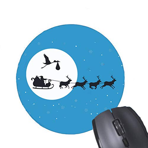 Gaming Mouse Pad Christmas Pregnancy Ornament- Coming to Town Ceramic Ornament for Desktop and Laptop 1 Pack Round Mouse mat ()