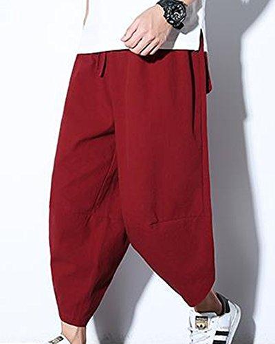 Rosso Larghi Baggy Uomo Hip Pantaloni Harem Con Tasconi Orange Hop Pinocchietti Casual Danza q5f75