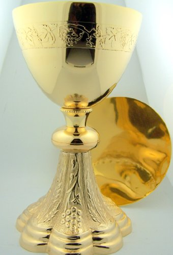 Grape and Wheat Church Chapel Gold Gild Priest Chalice and Paten Pastor Gift 8 Inch Tall by Christian Brands