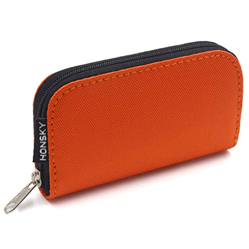 (SD Card Case, 22 Slot Zippered Memory Card Holder, Memory Card Case Organizer Storage Wallet for SD Cards, Micro SD Cards, CF SDXC SDHC MMC, Orange)