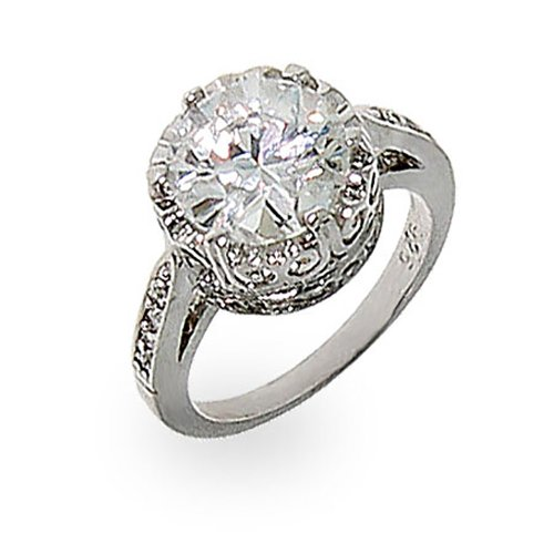 Crown-White-Cubic-Zirconia-Signity-Star-Cut-CZ-Ring