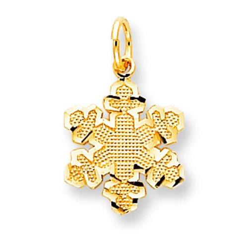 10K Yellow Gold Snowflake Charm Jewelry FindingKing