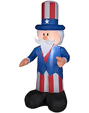 c1d4a4b5 Gemmy Airblown Inflatable Patriotic Uncle Sam with Top Hat July 4th Life  Sized Decoration - 4