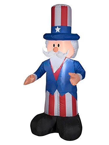 Gemmy Airblown Inflatable Patriotic Uncle Sam with Top Hat July 4th Life Sized Decoration - 4-foot Tall -